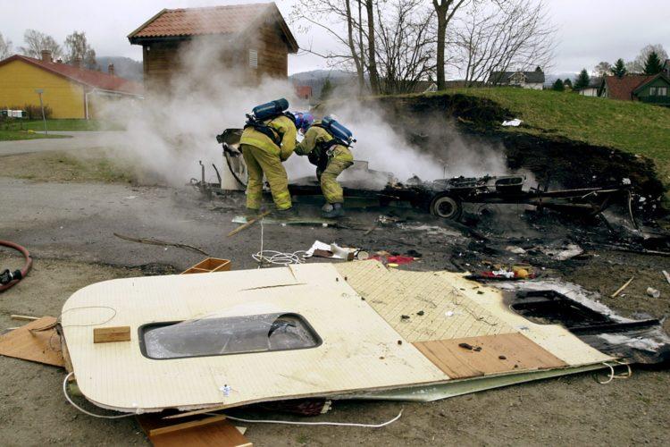Campingvognen eksploderte
